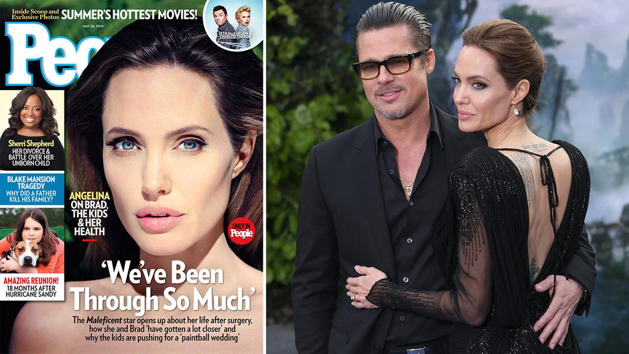 Angelina Jolie appears on the cover of People magazines May 26, 2014 issue. / Angelina Jolie and Brad Pitt appear at the Maleficent exhibit in Kensington Gardens, May 8, 2014.