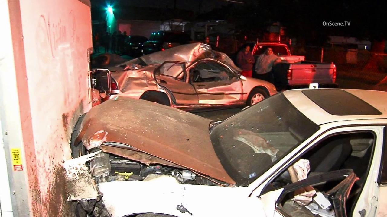 Four parked cars along Valley Bouelvard in Rosemead were heavily damaged after a driver crashed into the cars on Friday, April 3, 2015.
