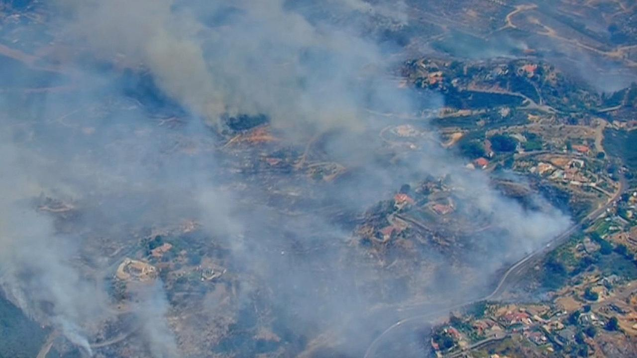 An aerial view of a burned area in San Diego County on Thursday, May 15, 2014.