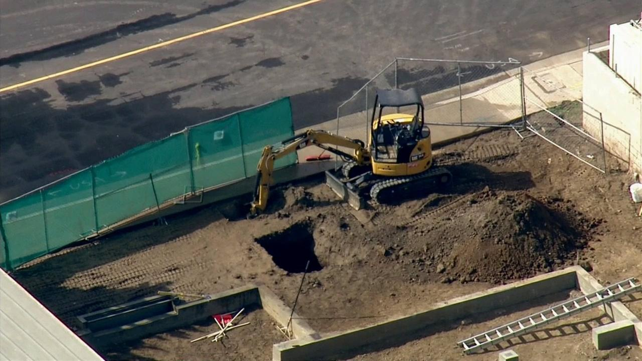 Authorities say construction workers hit a gas line in the 9200 block of Pentland Street in Temple City on April 7, 2015.