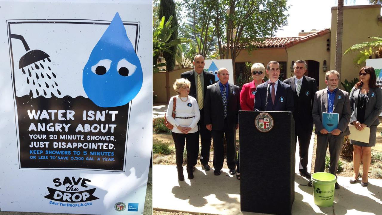 Los Angeles Mayor Eric Garcetti introduced Angelenos to the Drop Thursday, April 9, 2015.