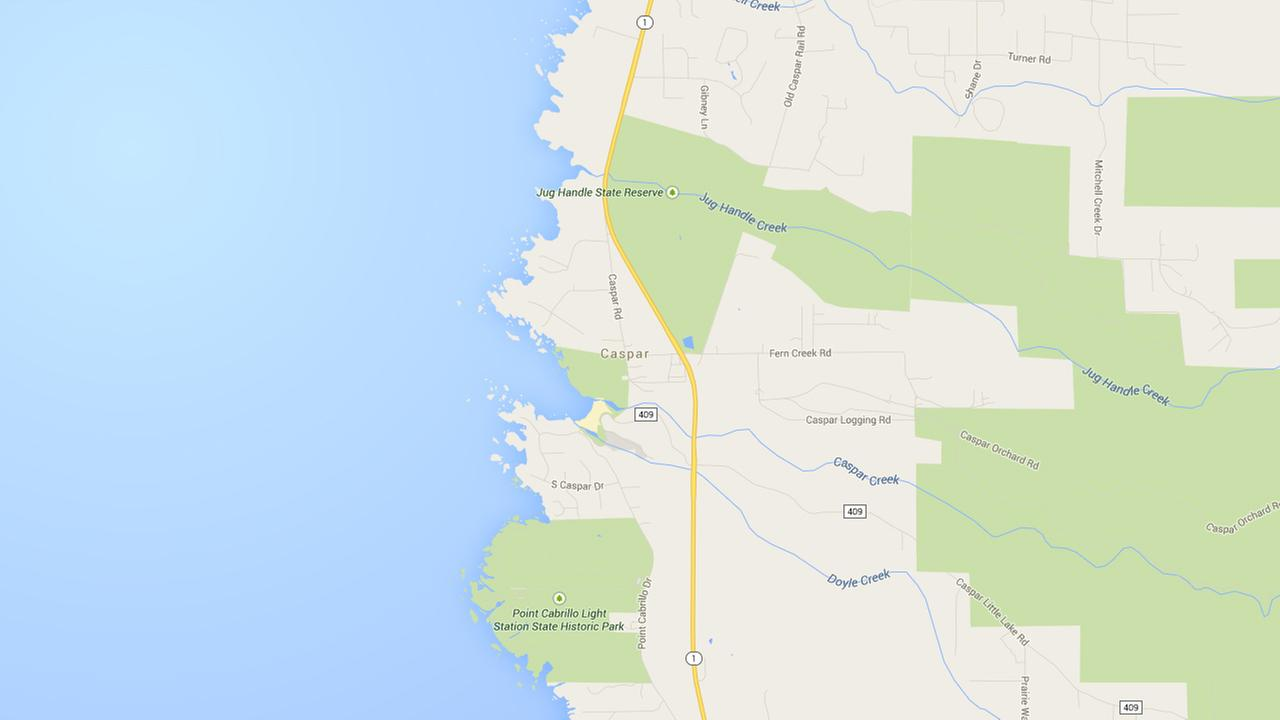 This Google Maps image shows the Mendocino County coast where three men died while diving for abalone.