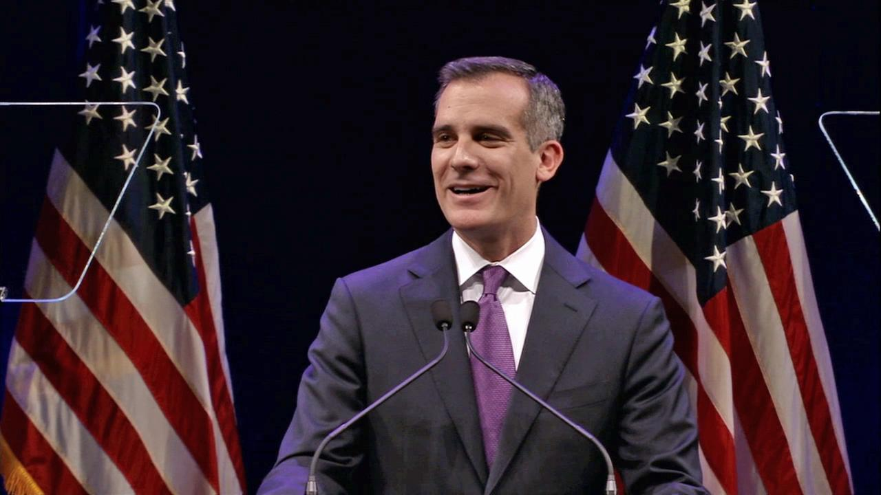 Los Angeles Mayor Eric Garcetti delivers the State of the City address at Cal State Northridge on Tuesday, April 14, 2015.