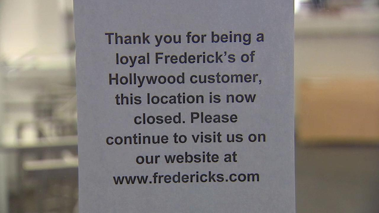 A sign posted at a Hollywood branch of Fredericks of Hollywood announces their closure on Wednesday, April 15, 2015.