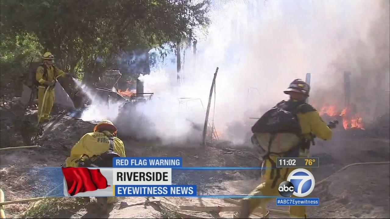 Dry and hot red-flag conditions have firefighters on alert. They made quick work of a small brush fire near the Santa Ana River bottom in Riverside on Thursday.