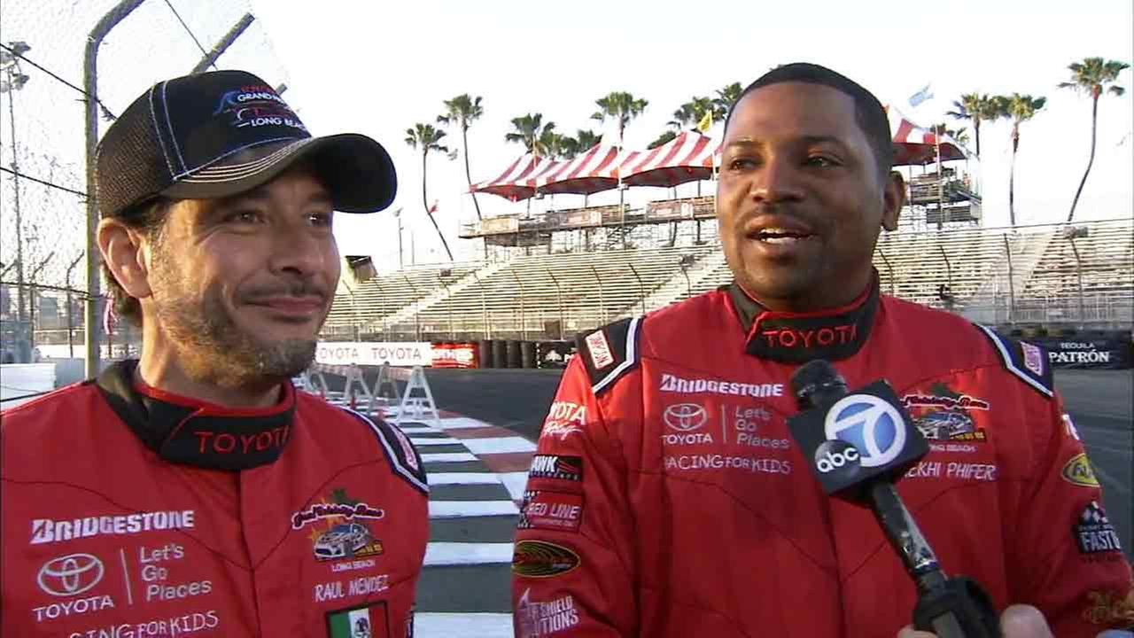 Actors Mekhi Phifer and Raul Mendez speak at the Toyota Grand Prix of Long Beach on Friday, April 17, 2015.