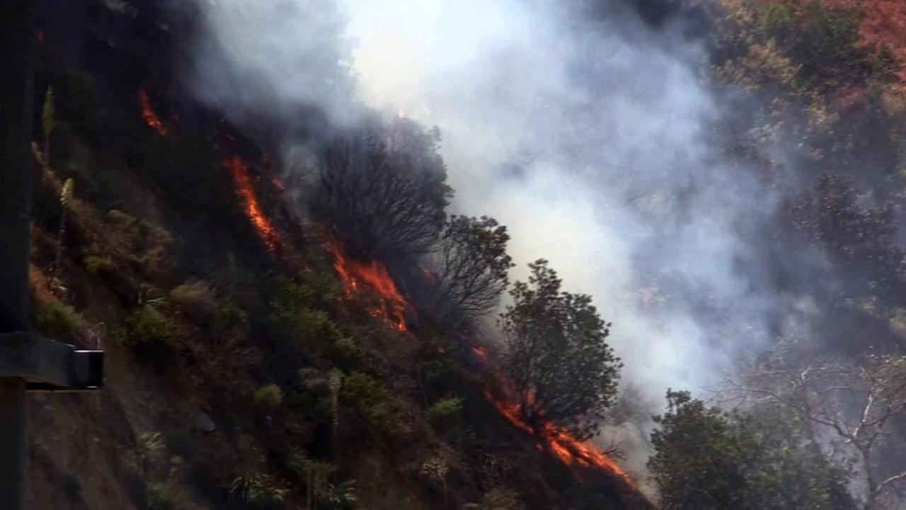 A 10-acre brush fire along the 91 Freeway burns near Green River Road in Corona on Friday, April 17, 2015.