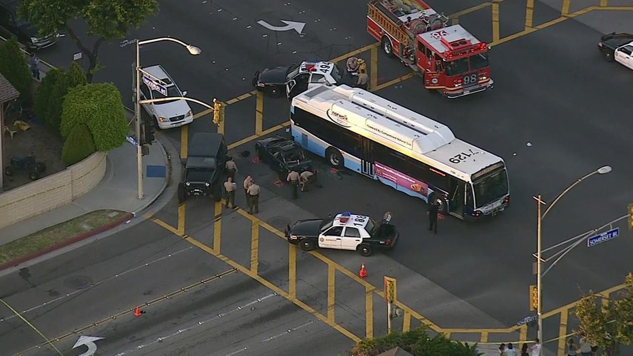 Police responded to a crash between a city bus and a car in Bellflower on Friday, April 17, 2015.