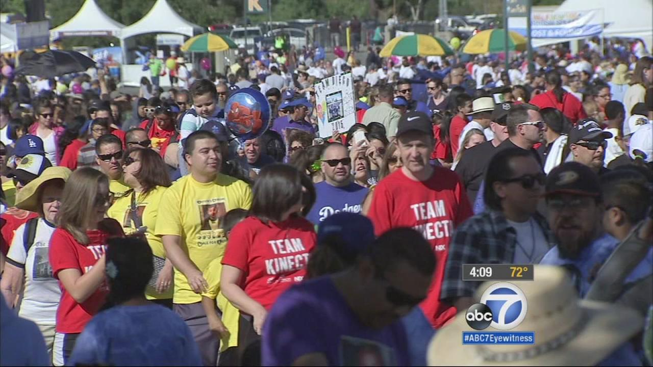 Thousands of people gathered at the Walk Now for Autism Speaks at the Rose Bowl in Pasadena on Saturday, April 18, 2015.