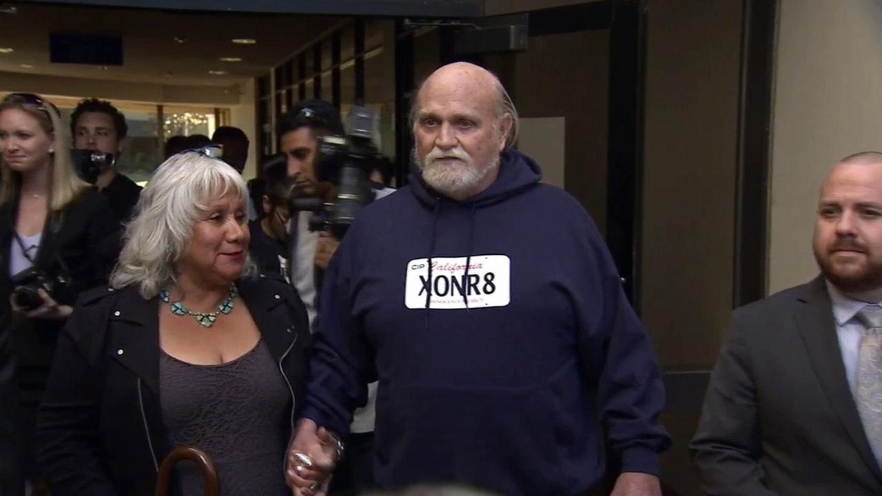 Michael Hanline, 69, who is the longest-serving wrongfully incarcerated inmate in California history, is shown leaving Ventura County Superior Court in November 2014.