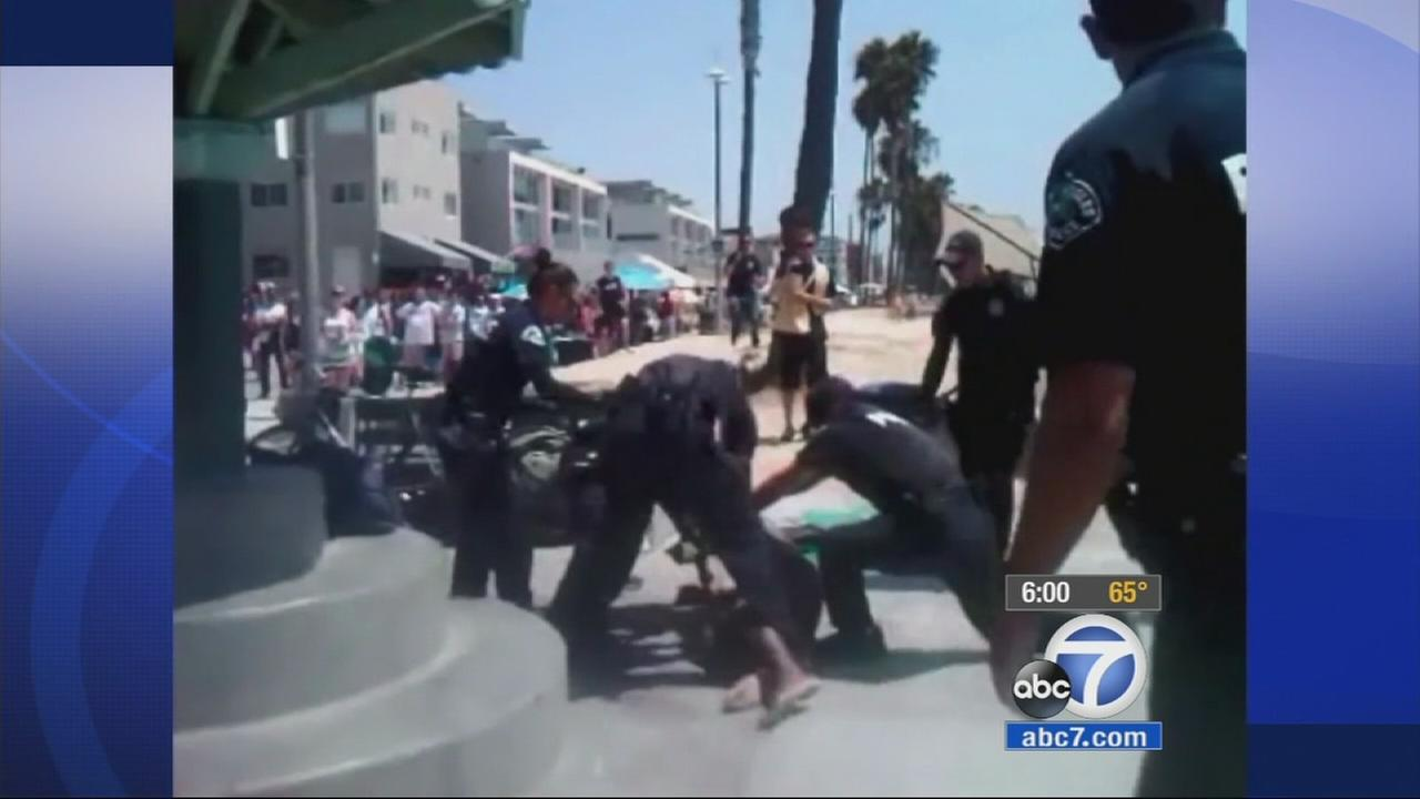 Cellphone video shows a handful of Los Angeles police officers tasering a mentally ill homeless man in Venice on Thursday Aug. 7, 2014.