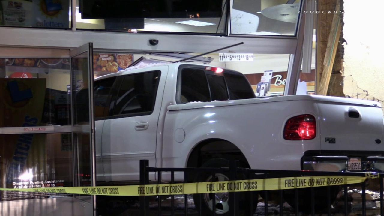 A Ford F-150 truck crashes into a 76 gas station store in Riverside on Friday, April 24, 2015.