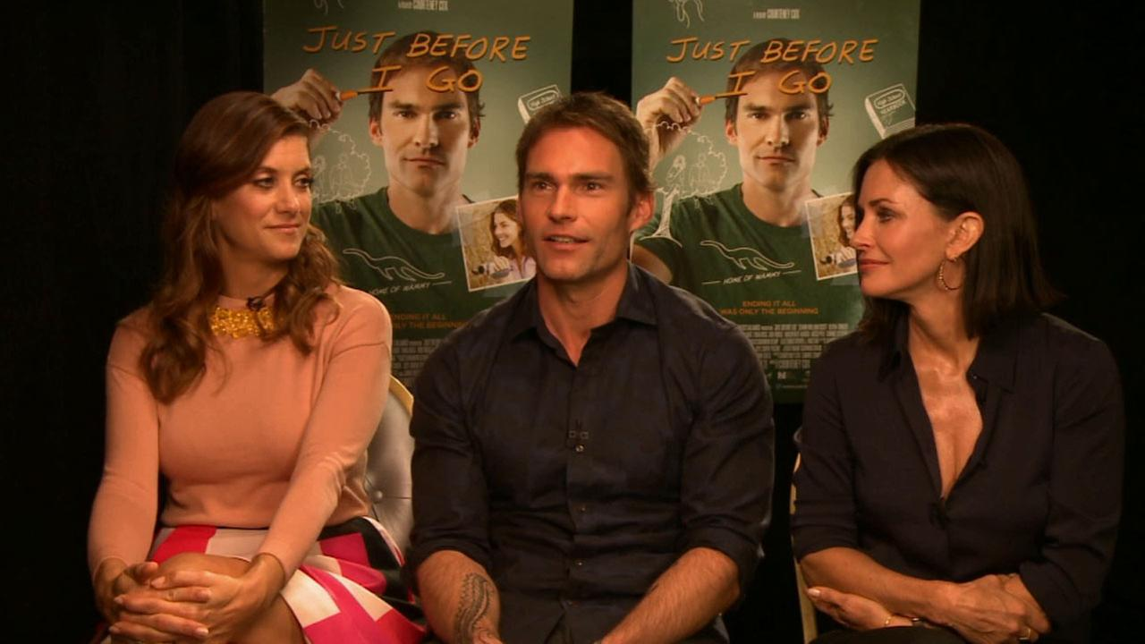 Seann William Scott, Courtney Cox and Kate Nash sit down and talk about their latest movie Just Before I Go in this undated photo.
