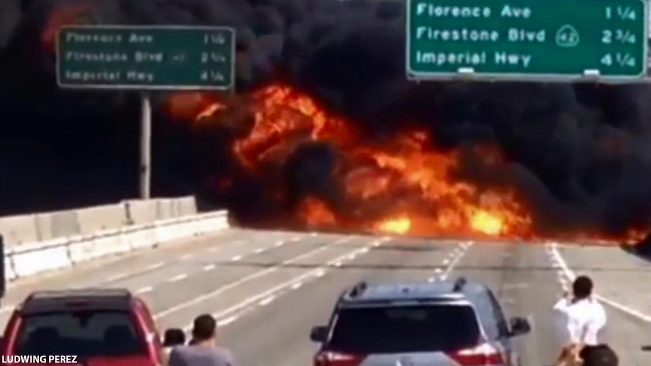 A tanker truck exploded on the 710 Freeway in the city of Bell on Sunday, April 26, 2015.