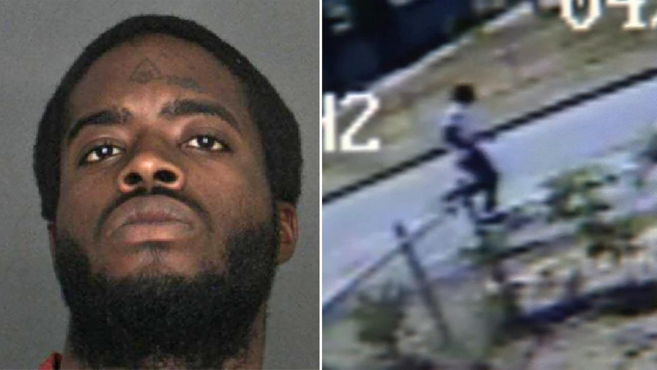 Jeremiah Bell, 22, of Fontana, is shown in his booking photo (left). Surveillance video shows Bell running from the scene after allegedly beating a Rialto man with a bat (right).