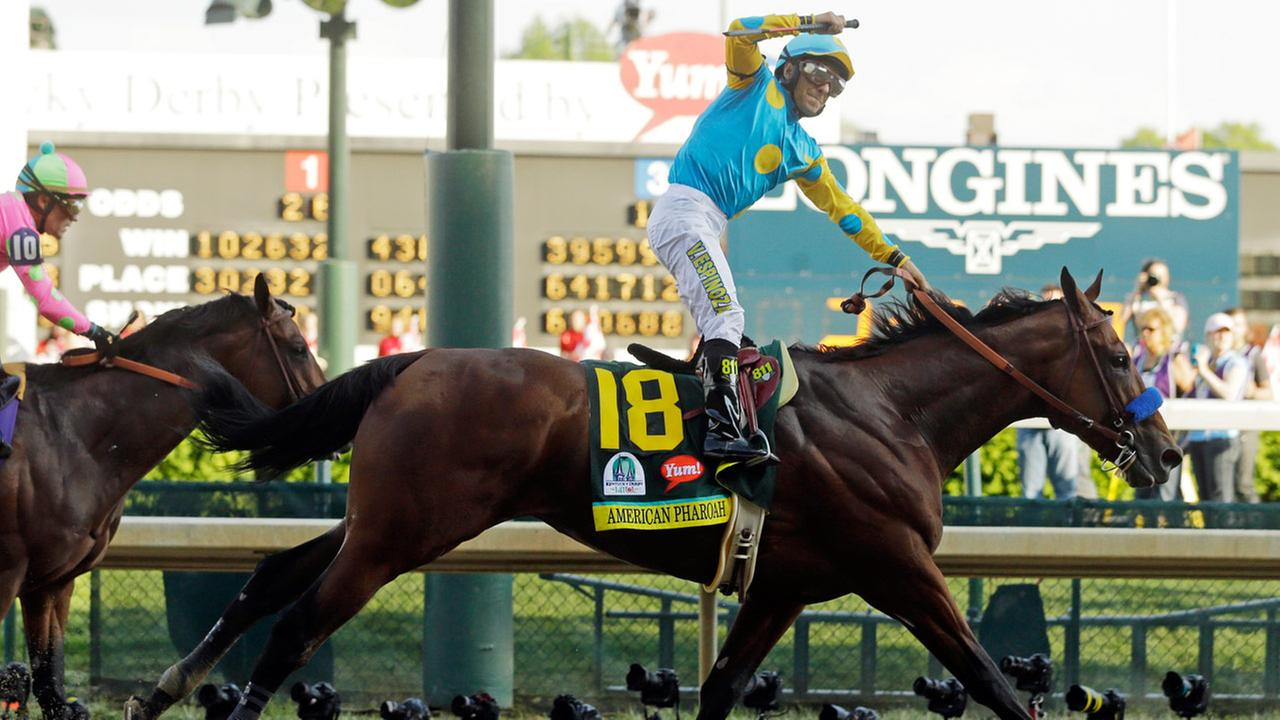 Victor Espinoza rides American Pharoah to victory in the 141st running of the Kentucky Derby horse race at Churchill Downs Saturday, May 2, 2015, in Louisville, Ky.