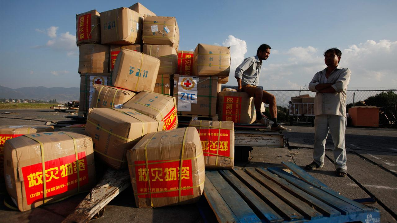 Relief material brought in from China lie at the Tribhuvan International airport in Kathmandu, Nepal, Sunday, May 3, 2015.
