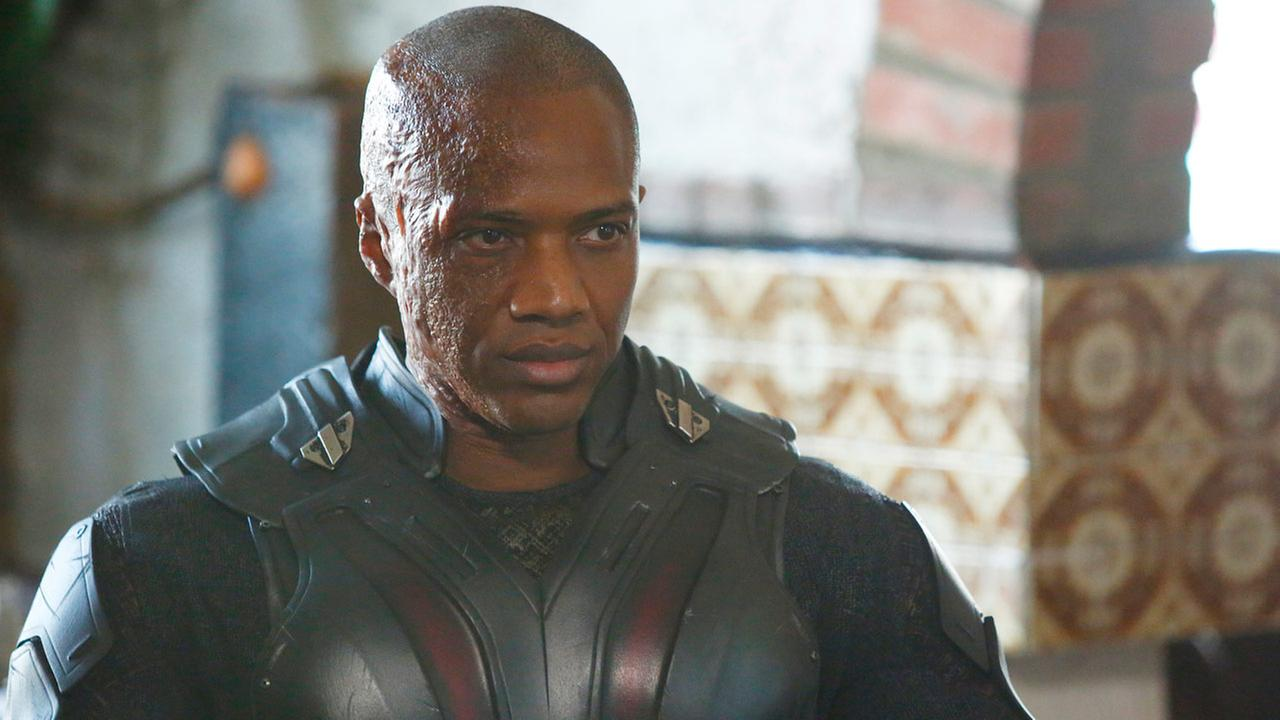 Actor J. August Richards is shown as the character Deathlok in an image from ABCs Marvels Agents of S.H.I.E.L.D.