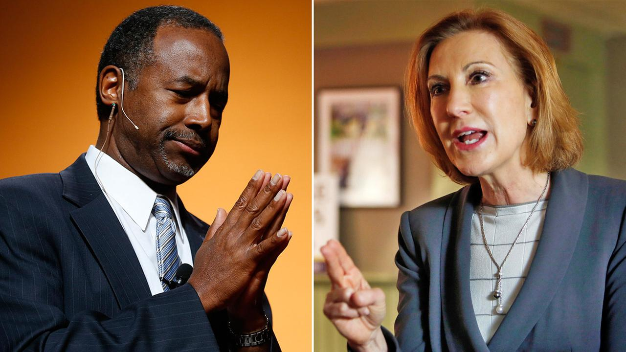 Retired neurosurgeon Ben Carson and former Hewlett-Packard executive Carly Fiorina jumped into the race for the Republican presidential nomination Monday, May 4, 2015.