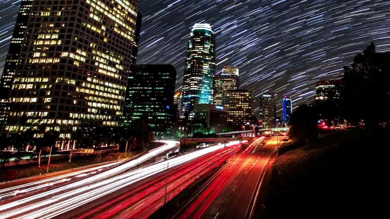 A still image of a time-lapse video of Los Angeles taken by photographers Gavin Heffernan and Harun Mehmedinovic.
