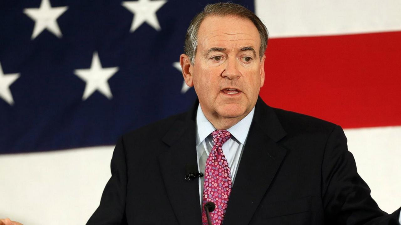 FILE - In this April 18, 2015 file photo, former Arkansas Republican Gov. Mike Huckabee speaks at the Republican Leadership Summit in Nashua, N.H.