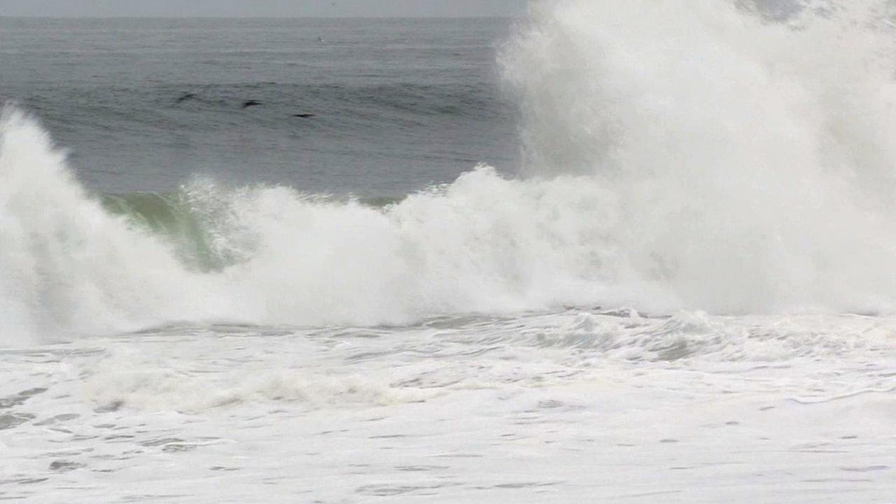 Waves crash down at the Wedge in Newport Beach on Tuesday, May 5, 2015.