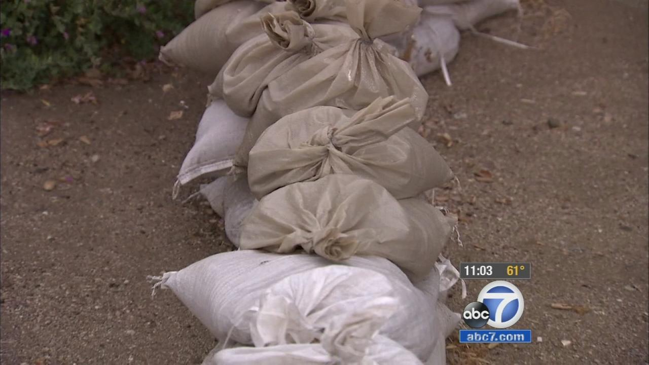 Sandbags are seen in a Glendora neighborhood near the Colby Fire burn area ahead of rain on Thursday, May 7, 2015.