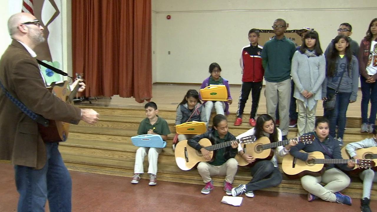 A beloved teacher at West Athens Elementary School in South Los Angeles was given a brand new music room as part of our Pay It Forward series.