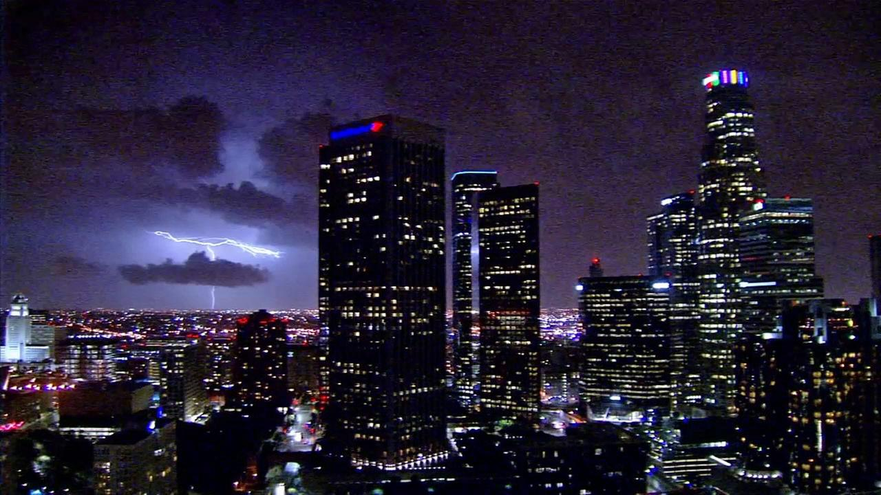 Lightning was captured on the ABC7 Downtown L.A. camera on Thursday, May 8, 2015.