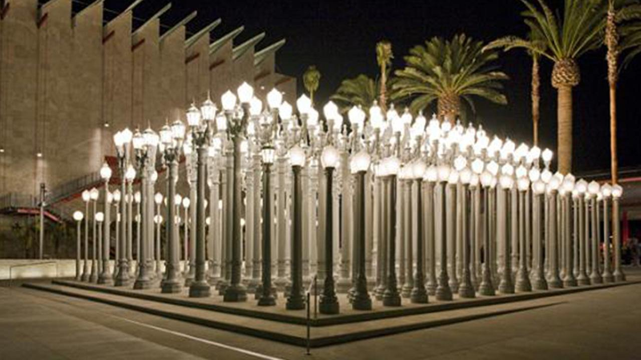 Artist Chris Burdens Urban Light installation is seen outside the Los Angeles County Museum of Art in this undated file photo.