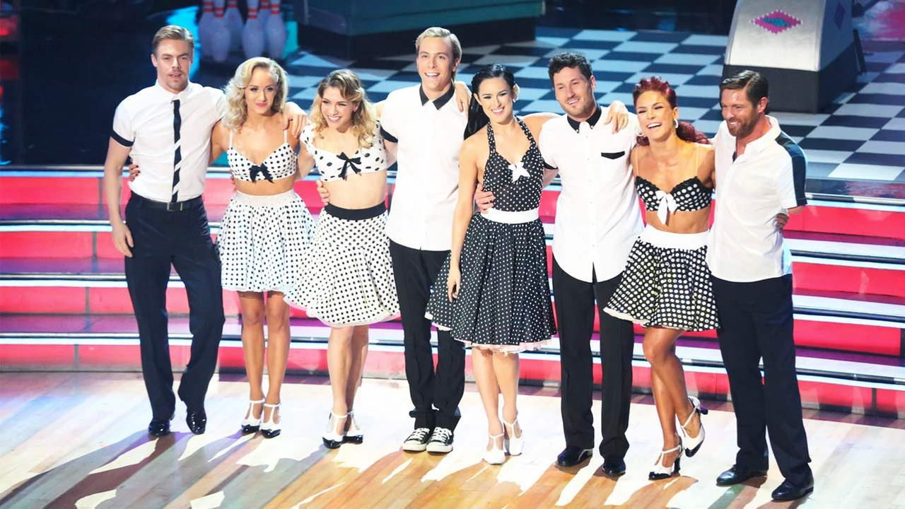 Derek Hough, Nastia Liukin, Allison Holker, Riker Lynch, Rumer Willis, Val Chmerkovskiy, Sharna Burgess and Noah Galloway pose on on Dancing With The Stars, Monday, May 11, 2015.