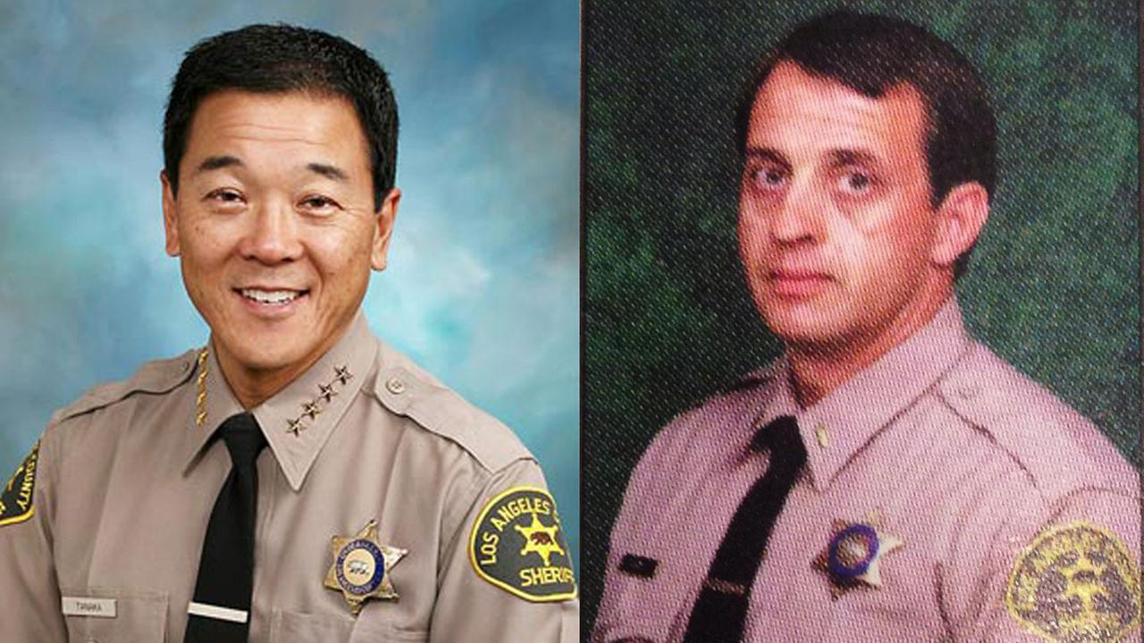 File images of former Los Angeles County Sheriffs Department Undersheriff Paul Tanaka (L) and former Capt. William Tom Carey.