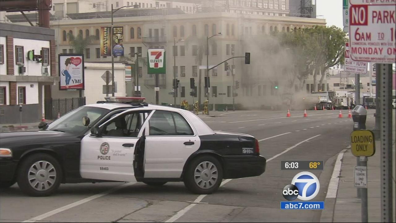 Homes and nearby buildings were evacuated after a gas line ruptured in the 1700 block of Cahuenga Boulevard in Hollywood on Saturday, May 16, 2015.
