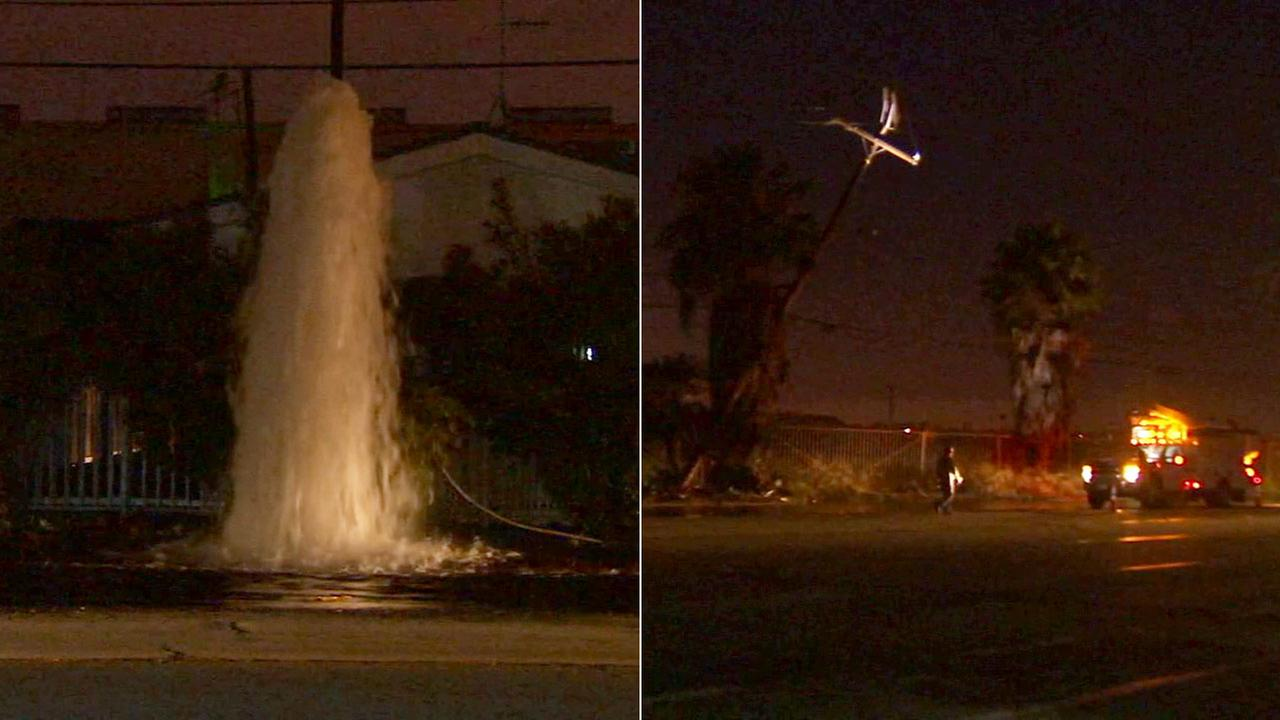 Nearly 1,000 people were without power in Compton Thursday after a truck slammed into a fire hydrant and then hit a power pole.