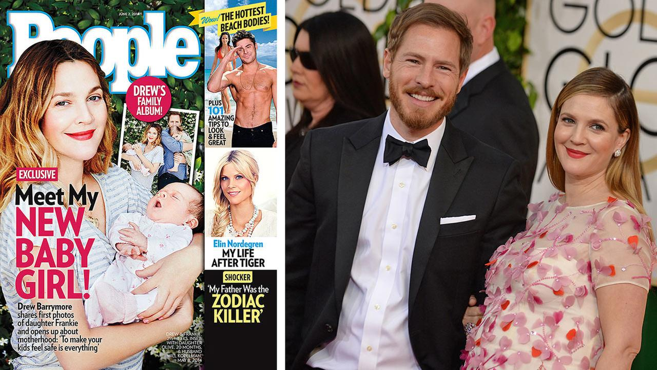 Drew Barrymore appears on the cover of People magazines June 2, 2014 issue with baby daughter Frankie. / Barrymore and husband Will Kopelman appear at the 2014 Golden Globe Awards  in Beverly Hills, California on Jan. 12, 2014.