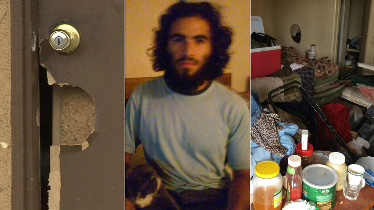 Nader Elhuzayel, 24, of Anaheim is seen in the center photo, provided by his parents.