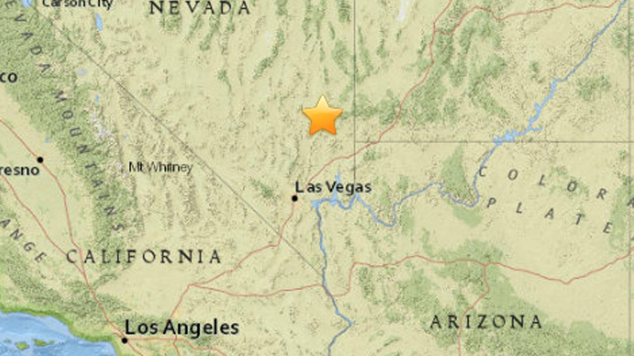 A map shows the area of Calienta, Nevada where an earthquake struck on Friday, May 22, 2015.