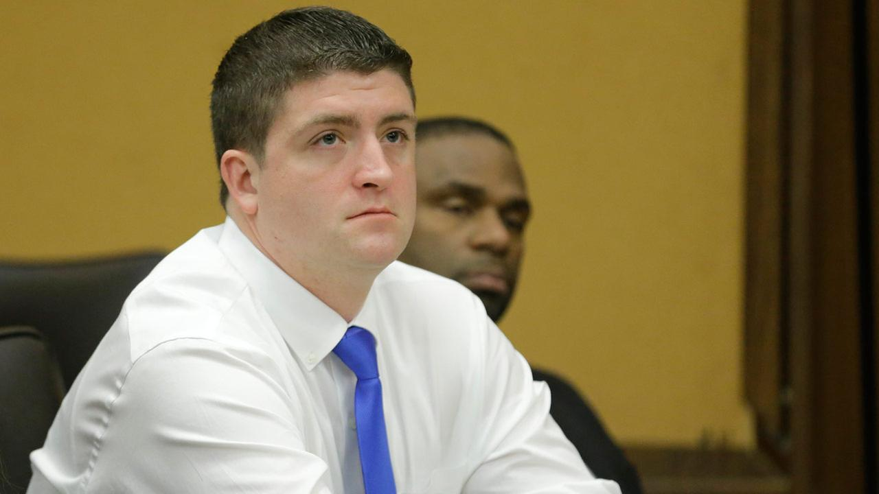 Cleveland police officer Michael Brelo listens to opening arguments Monday, April 6, 2015, in Cleveland.