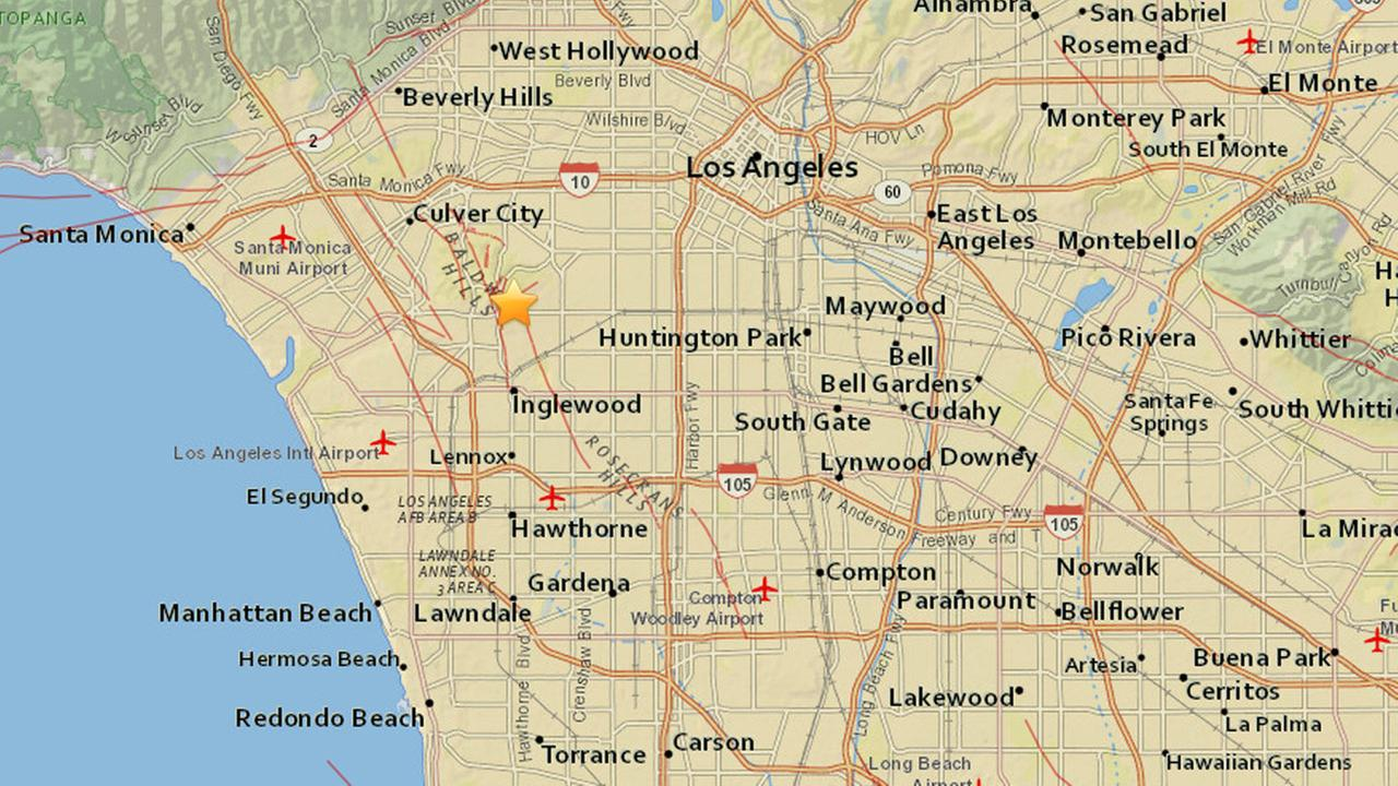A map shows the location of a preliminary 3.3-magnitude earthquake that struck near Baldwin Hills on Saturday, May 23, 2015.