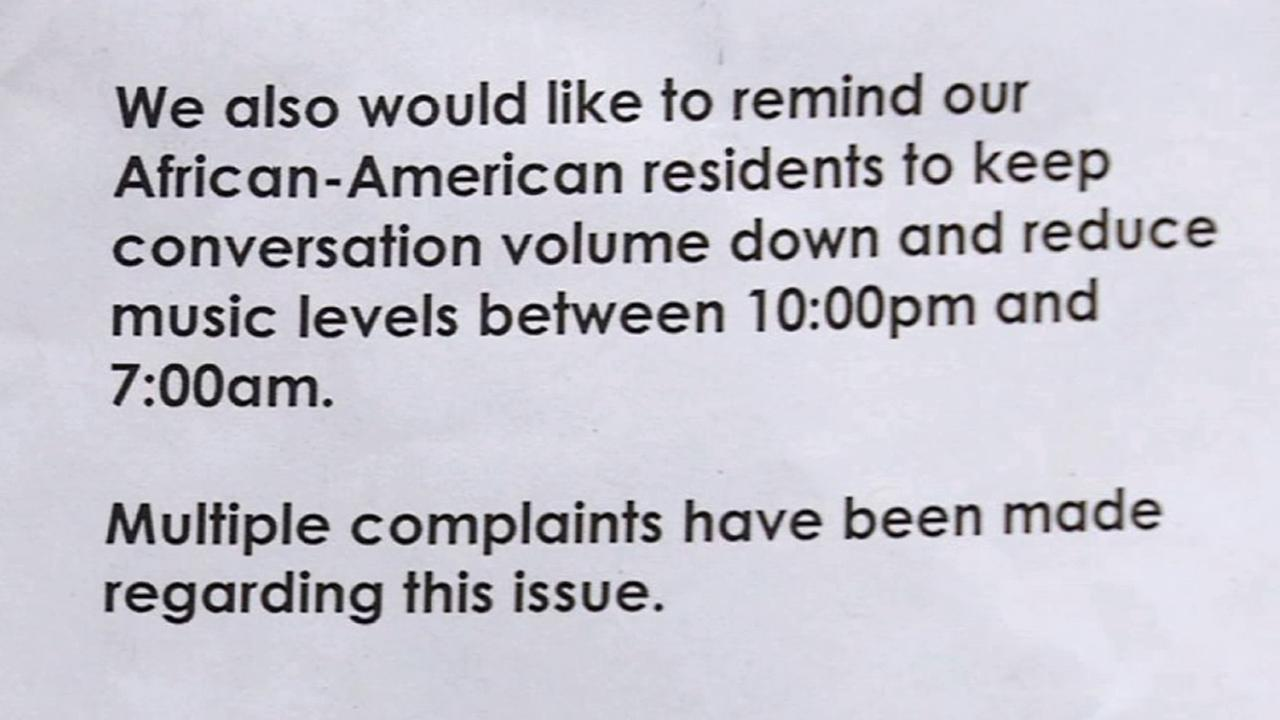 A notice posted at an Irvine apartment complex elevator asks African-American residents to keep conversation volume down and reduce music levels.