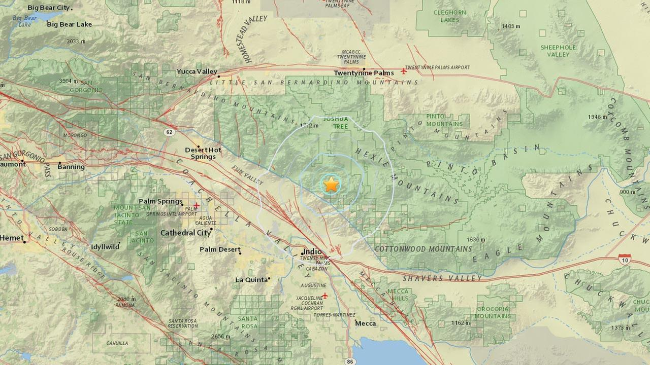 A map shows the location of a preliminary 3.8-magnitude earthquake that struck near Indio on Friday, May 29, 2015.