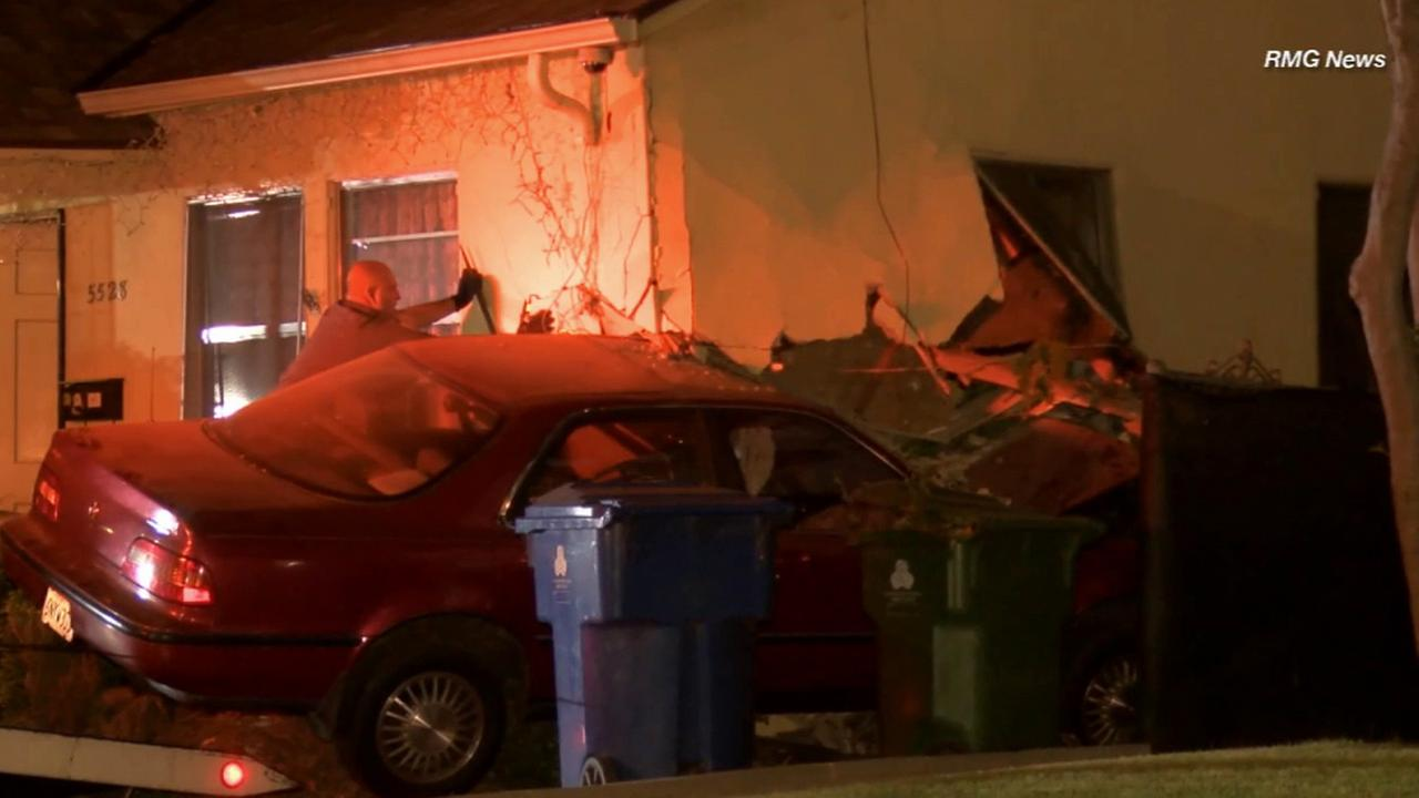 A suspected DUI driver crashed his vehicle into a house in the 5500 block of Allan Street in El Sereno Friday, May 29, 2015.
