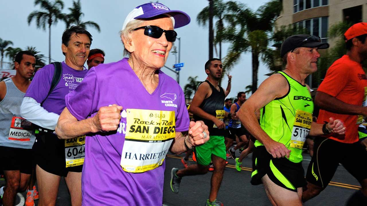 Harriette Thompson, 92, of Charlotte, North Carolina, completed Sundays Rock n Roll Marathon in San Diego in 7 hours, 24 minutes, 36 seconds.