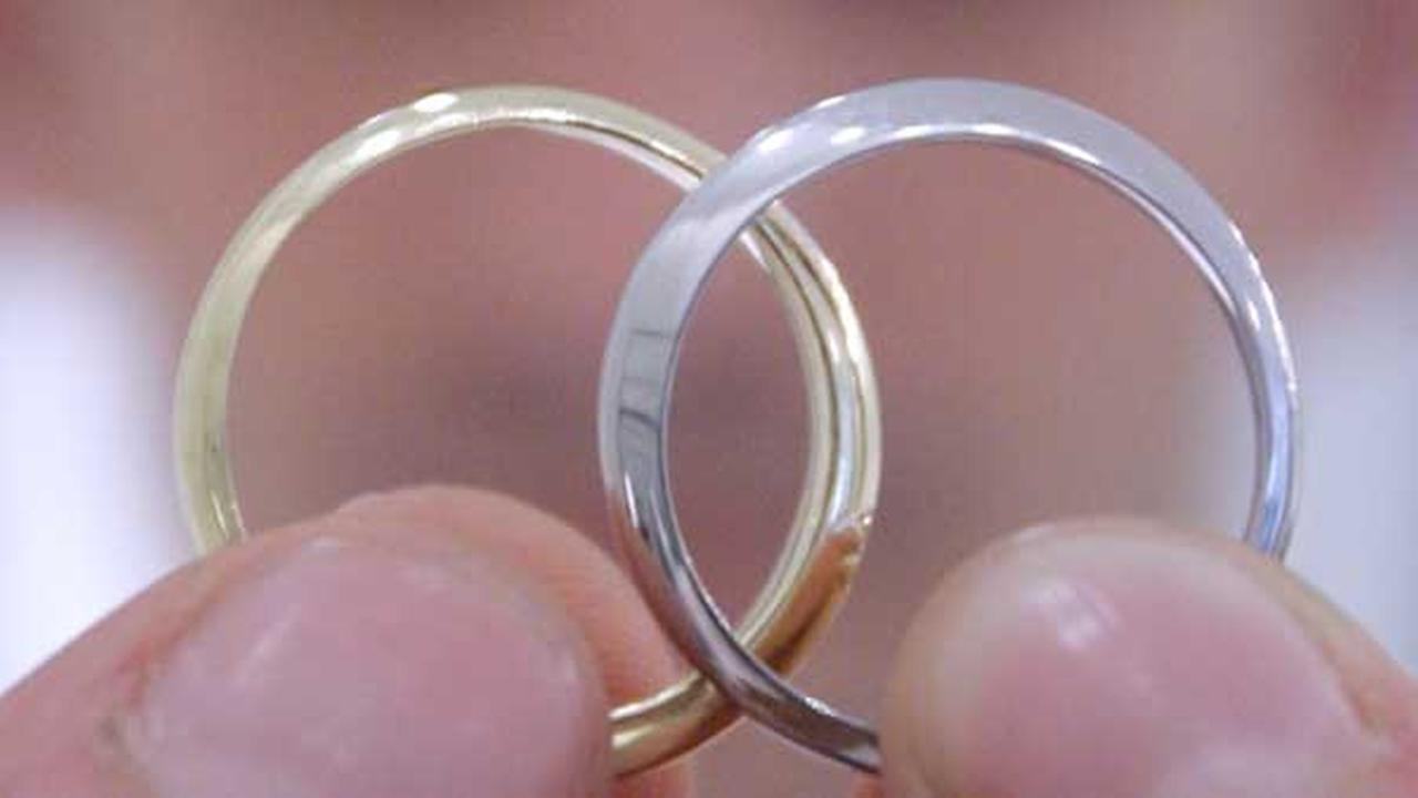 Wedding rings are seen in this undated file photo.