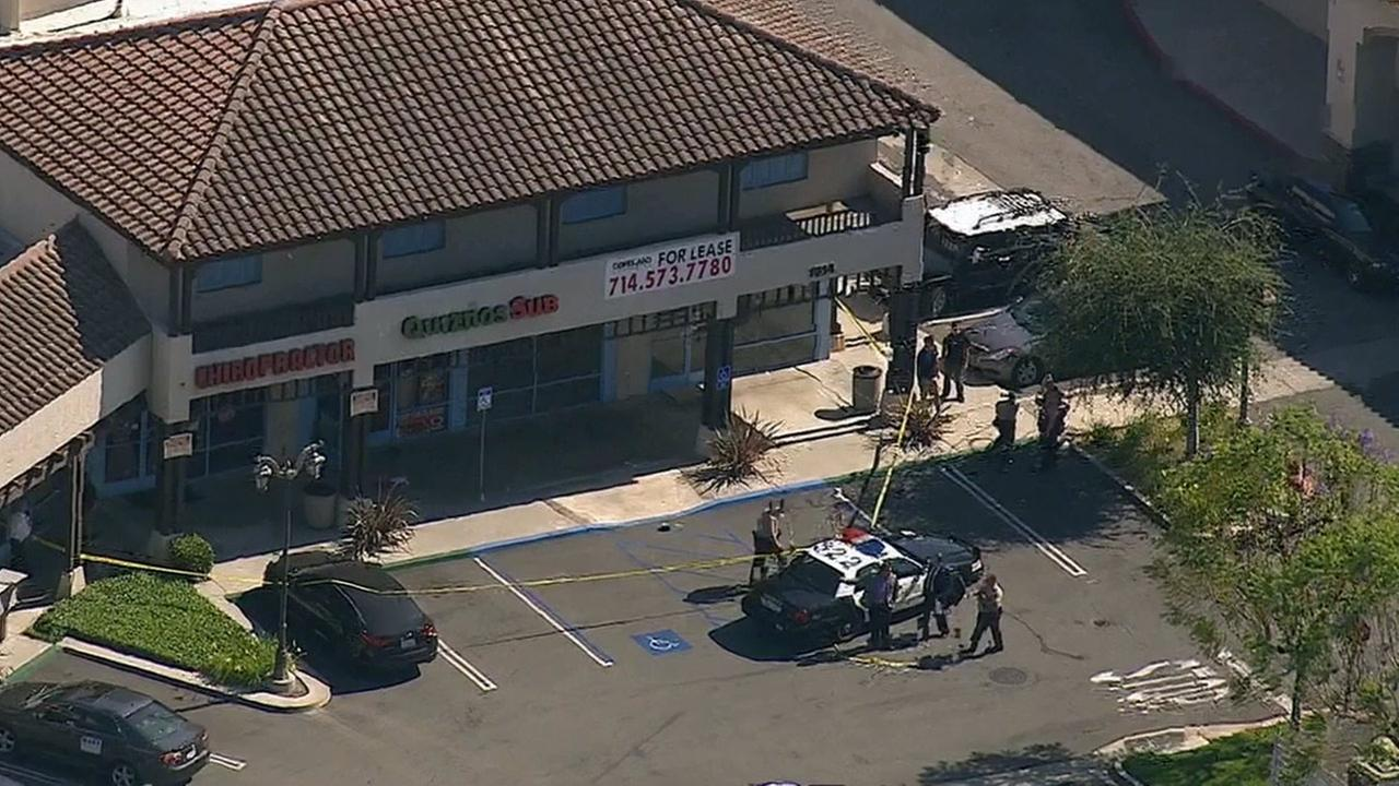A Quiznos store owner was shot during a confrontation with a robbery suspect in San Dimas on Tuesday, June 2, 2015.