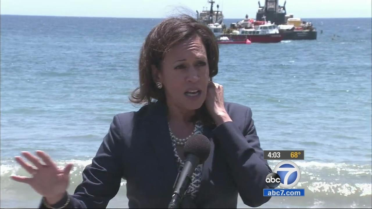 California Attorney General Kamala Harris toured the site of the oil spill at Refugio State Beach in Santa Barbara County Thursday, June 4, 2015 and said criminal charges were possible.