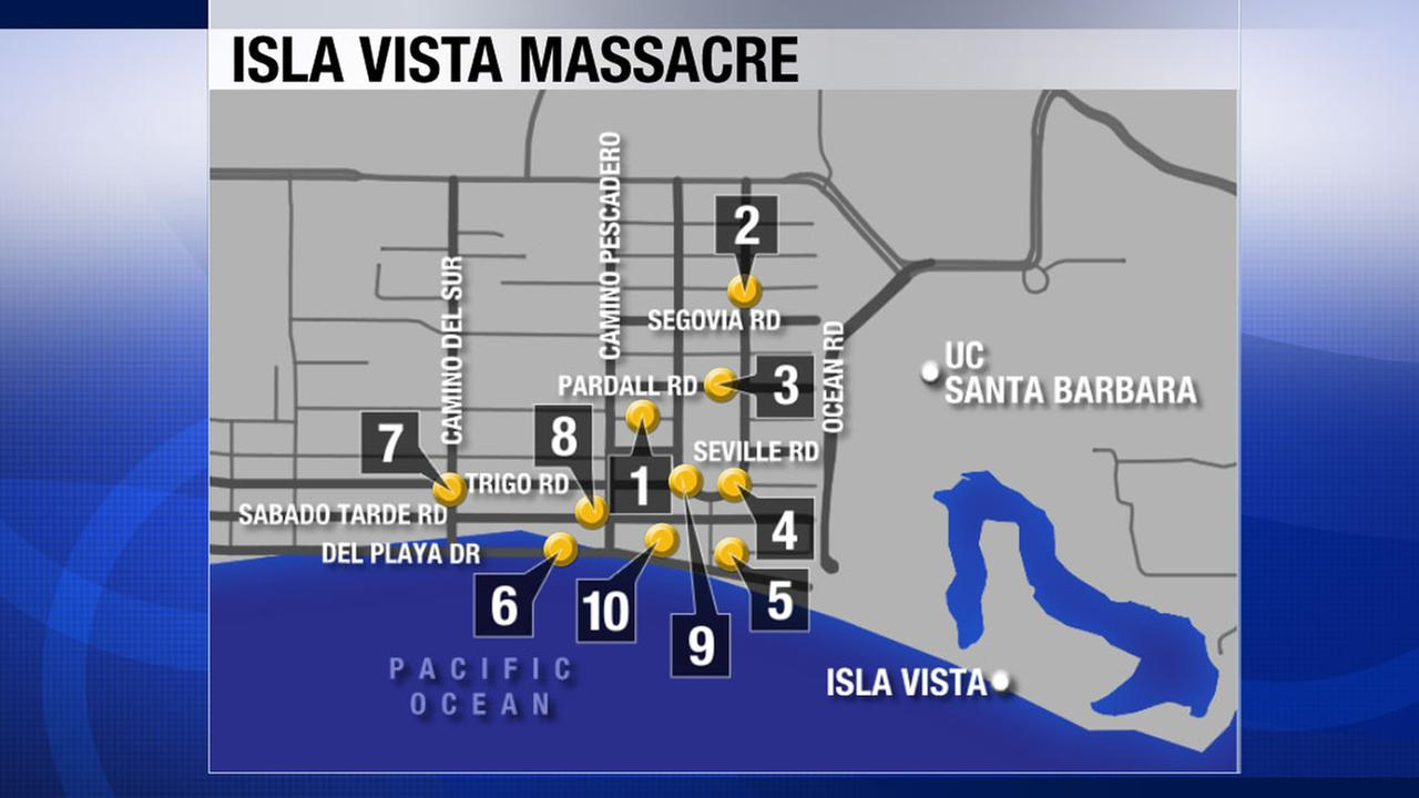 Isla Vista shooting rampage: Crime scene locations, timeline