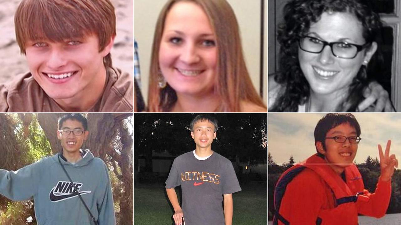 The six Isla Vista massacre victims, from top left: Christopher Michaels-Martinez, Veronika Weiss, Katie Cooper, Cheng-Yuan Hong, George Chen, Weihan Wang.