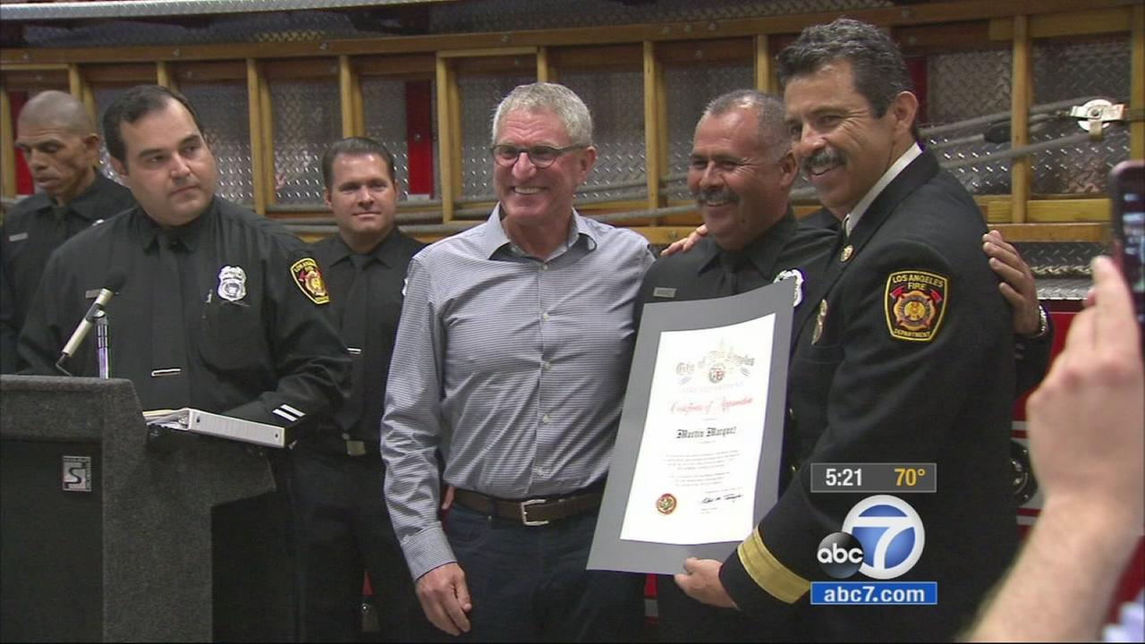 A runner who collapsed during this years Los Angeles Marathon got the chance to thank the doctors, paramedics and firefighters who saved his life.