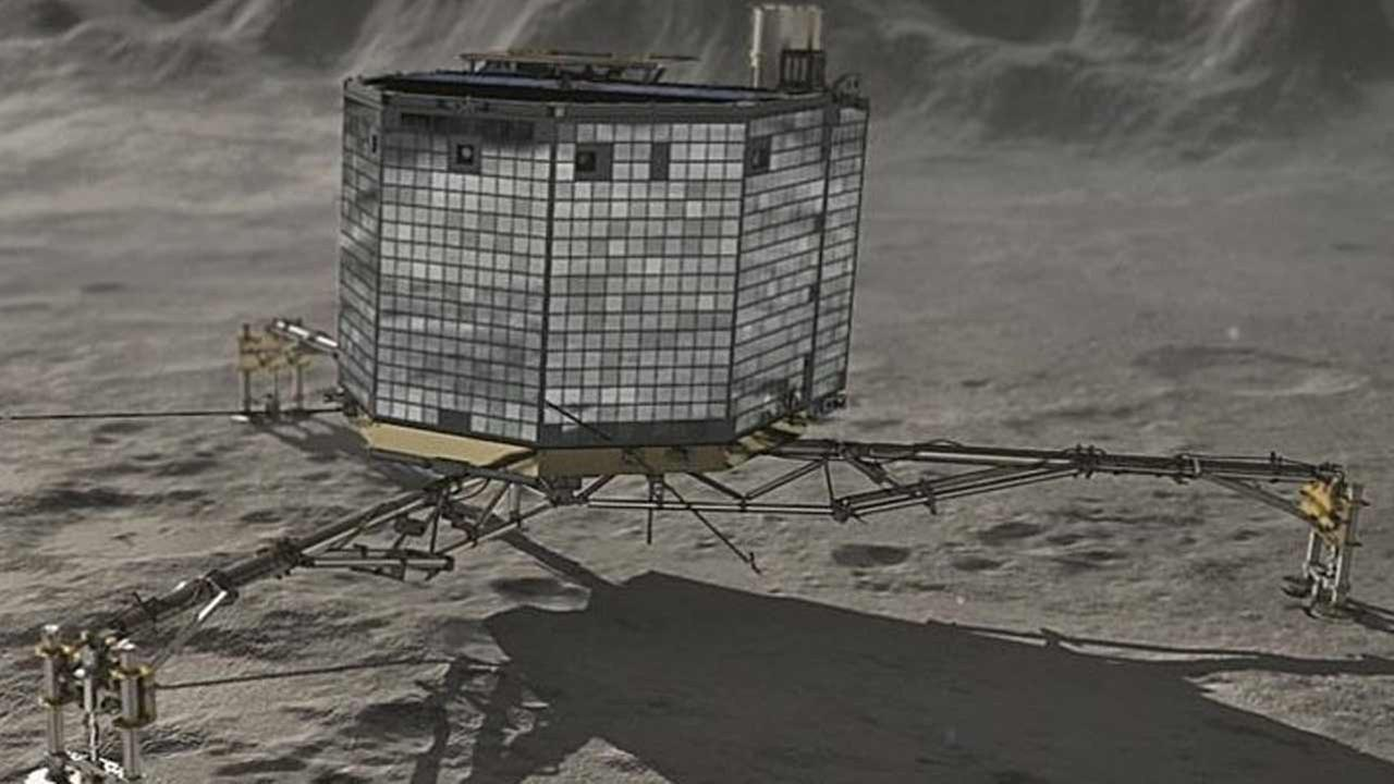 Comet lander Philae is seen in this photo.